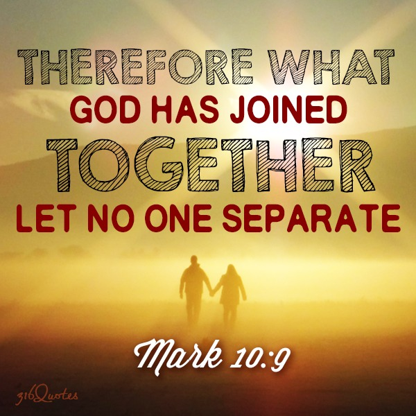 Therefore what God has joined together let no one separate - Mark 10:9