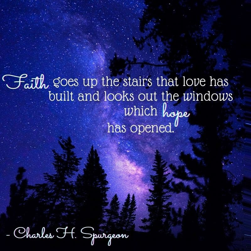 Faith goes up the stairs that love has built and looks out the windows which hope has opened - Charles H. Spurgeon