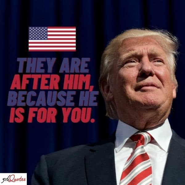 They Are After him, because he is for you - Donald J Trump